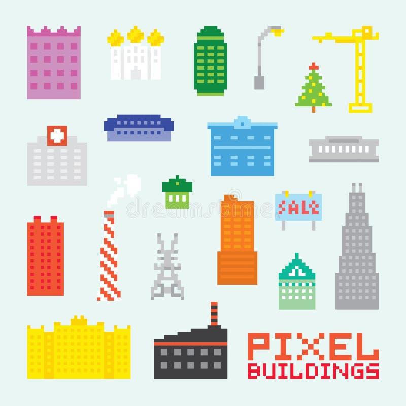 Piksel sztuki budynków wektoru set royalty ilustracja