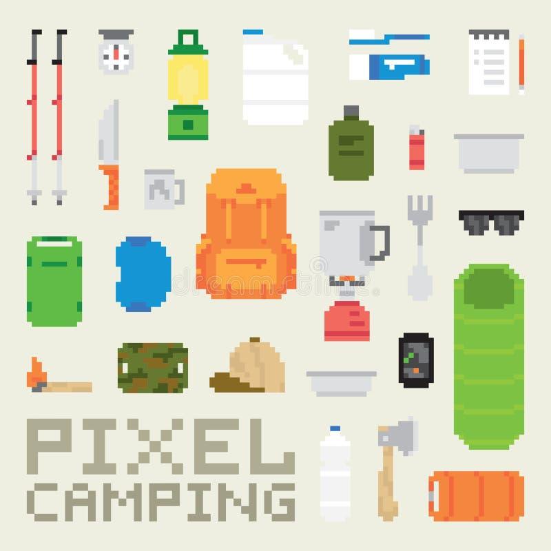 Piksel sztuki campingowych towarów wektoru przedmioty royalty ilustracja