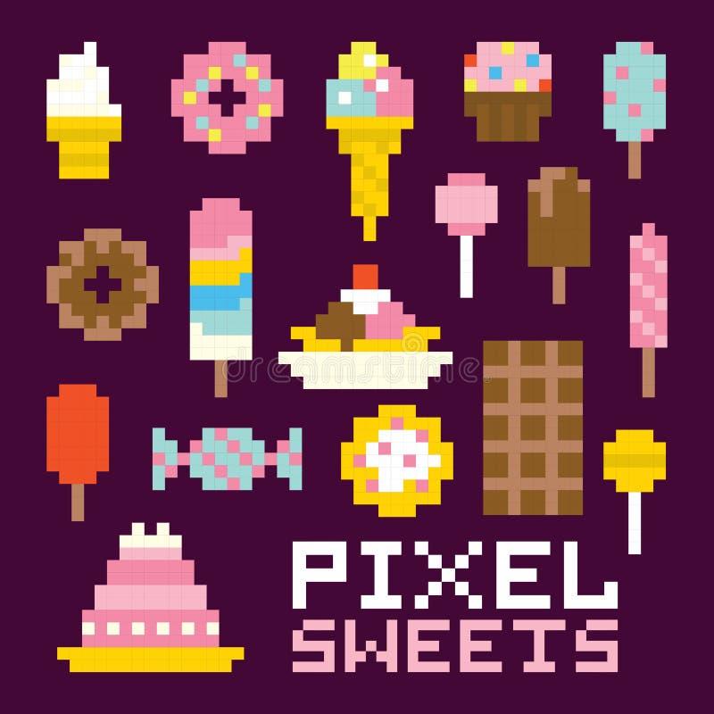 Piksel sztuki cukierków wektoru odosobniony set ilustracja wektor