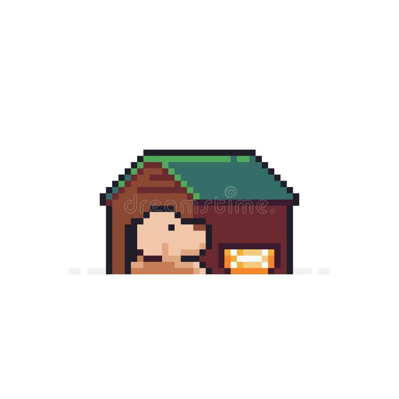 Piksel sztuki doghouse ilustracji