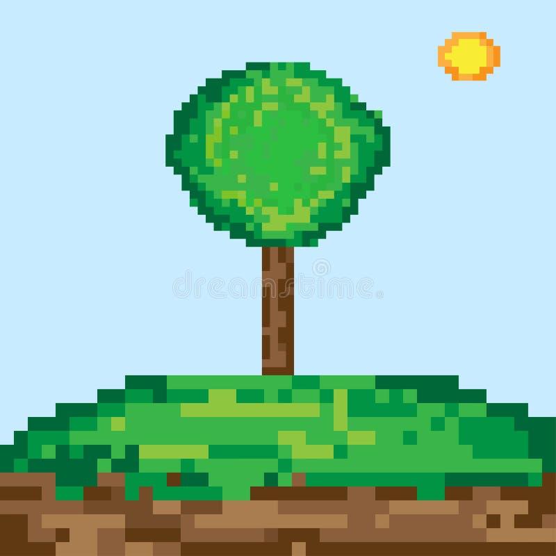 Piksel sztuki drzewo royalty ilustracja