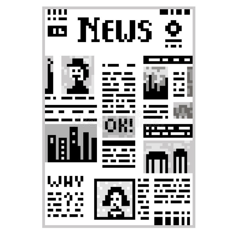 Piksel sztuki gazeta royalty ilustracja