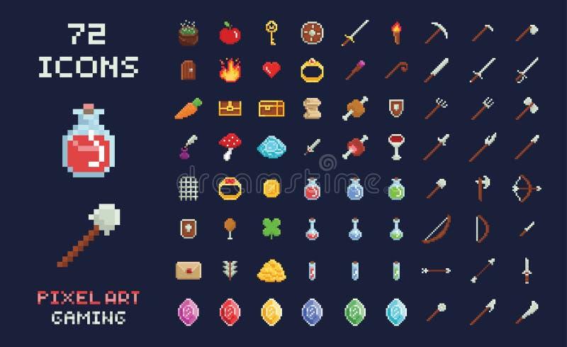 Piksel sztuki gemowego projekta ikony wideo gry interfejsu wektorowy set Bronie, jedzenie, rzeczy, napój miłosny, magia zdjęcie royalty free