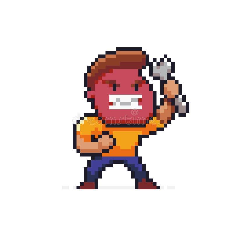 Piksel sztuki gniewny mechanik ilustracja wektor