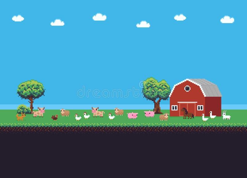 Piksel sztuki gospodarstwo rolne royalty ilustracja