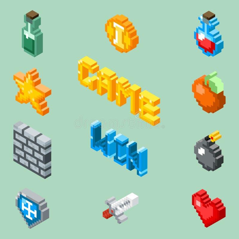 Piksel sztuki gry ikony 8 kawałków isometric piktogramów wektorowych royalty ilustracja