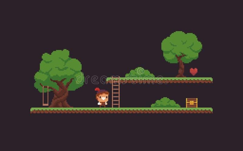 Piksel sztuki gry scena ilustracja wektor