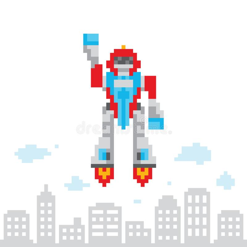 Piksel sztuki gry stylu retro kreskówki robota wektoru latająca ilustracja ilustracja wektor