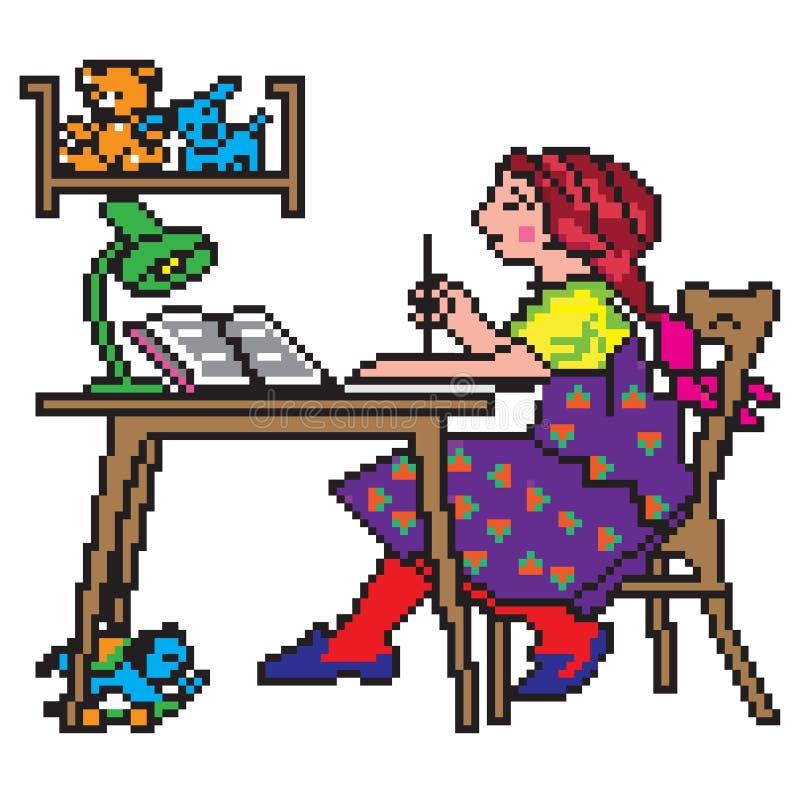 Piksel sztuki ilustracja Szkolna studencka robi praca domowa ilustracja wektor