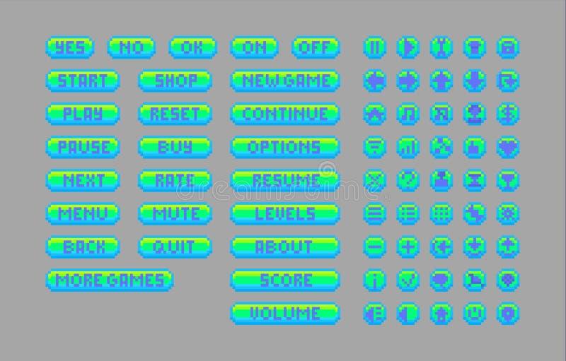 Piksel sztuki jaskrawi guziki ilustracja wektor