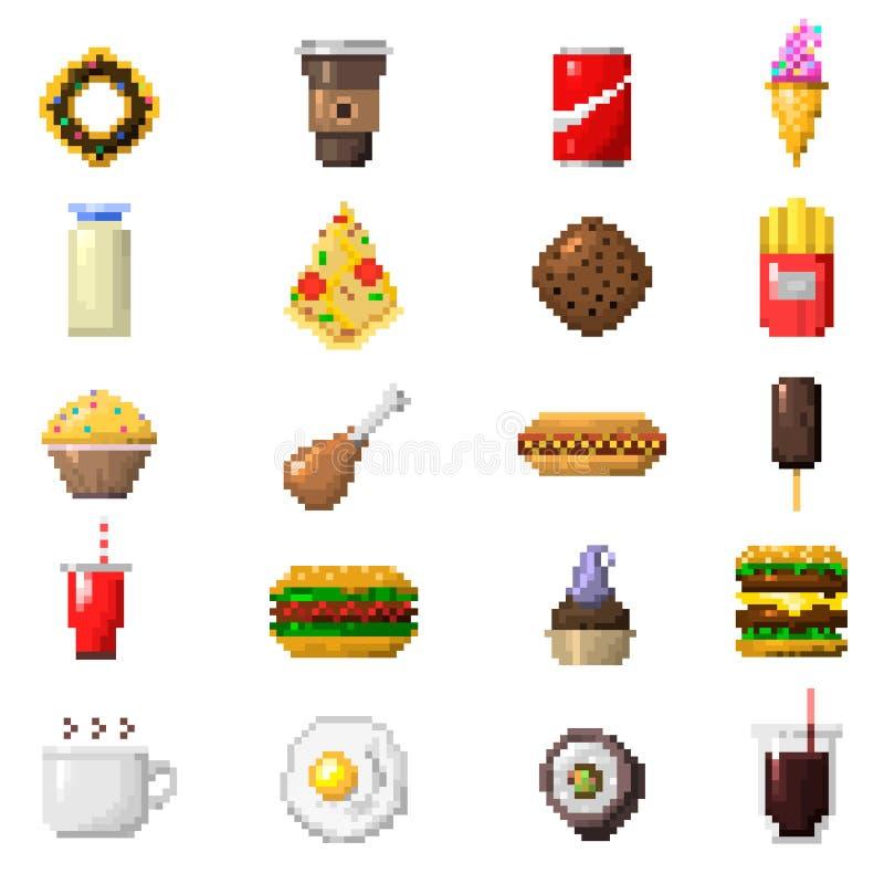 Piksel sztuki karmowe ikony wektorowe ilustracji