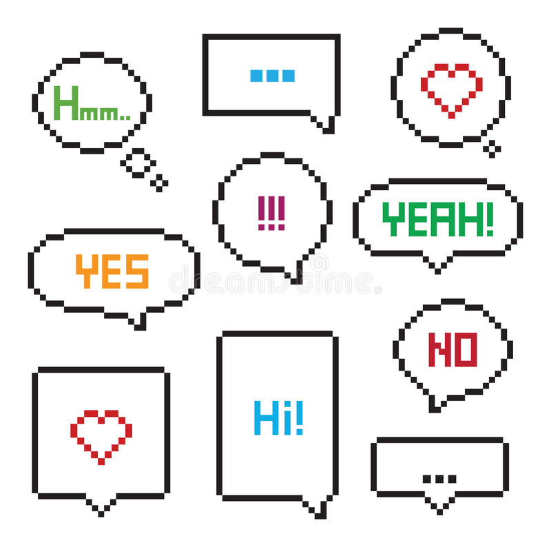 Piksel sztuki 8 kawałka mowy bąbla set ilustracja wektor