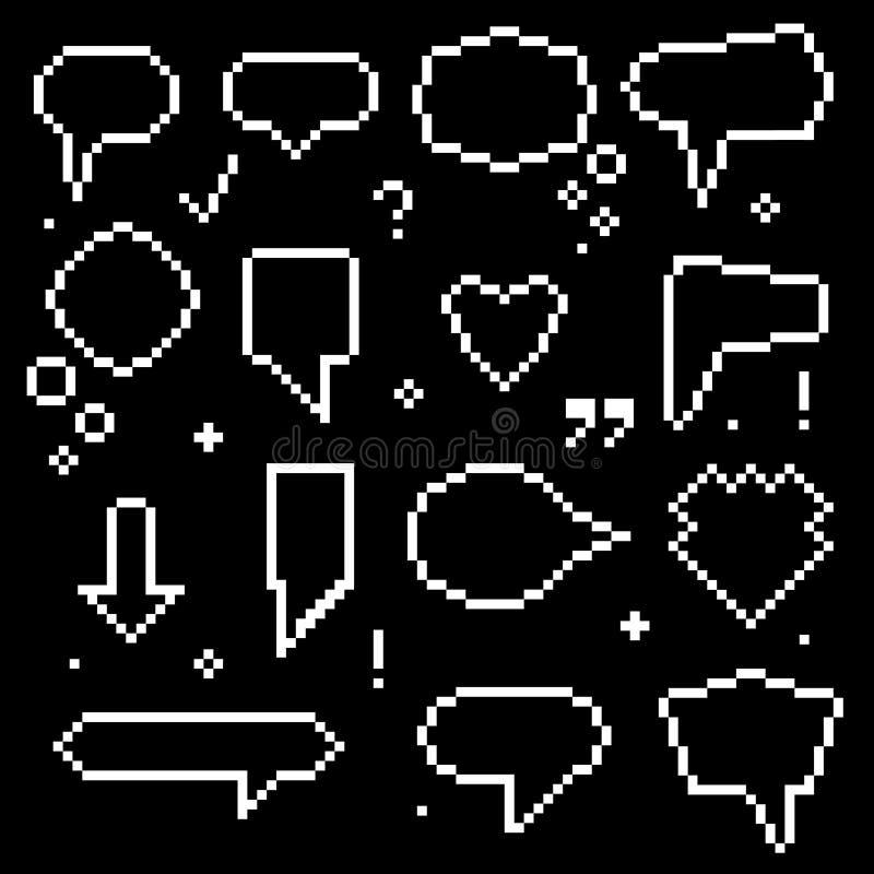 Piksel sztuki 8 kawałka mowy bąbli Białe ikony Ustawiać wektor ilustracji