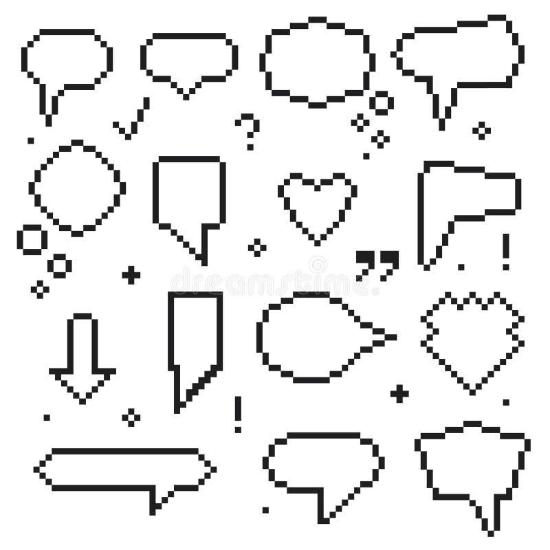 Piksel sztuki 8 kawałka mowy bąbli Czarne ikony Ustawiać wektor ilustracja wektor