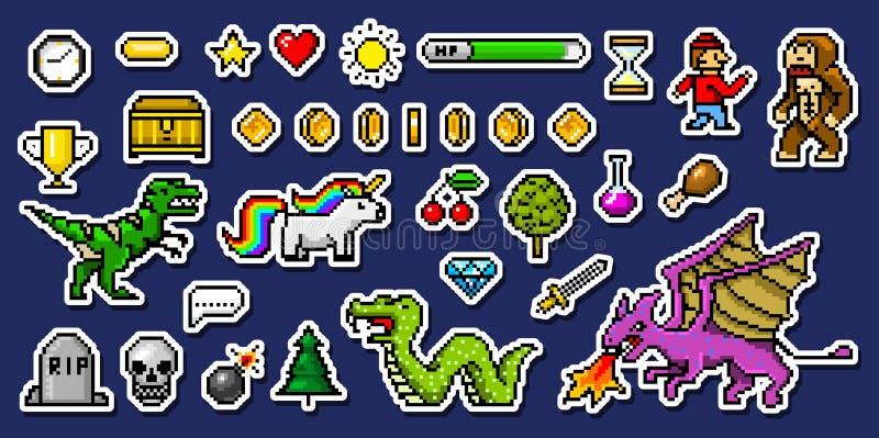 Piksel sztuki 8 kawałka przedmioty Retro gemowe wartości ustawić symbole rocznik komputerowe wideo arkady charakteru dinosaura ko ilustracja wektor