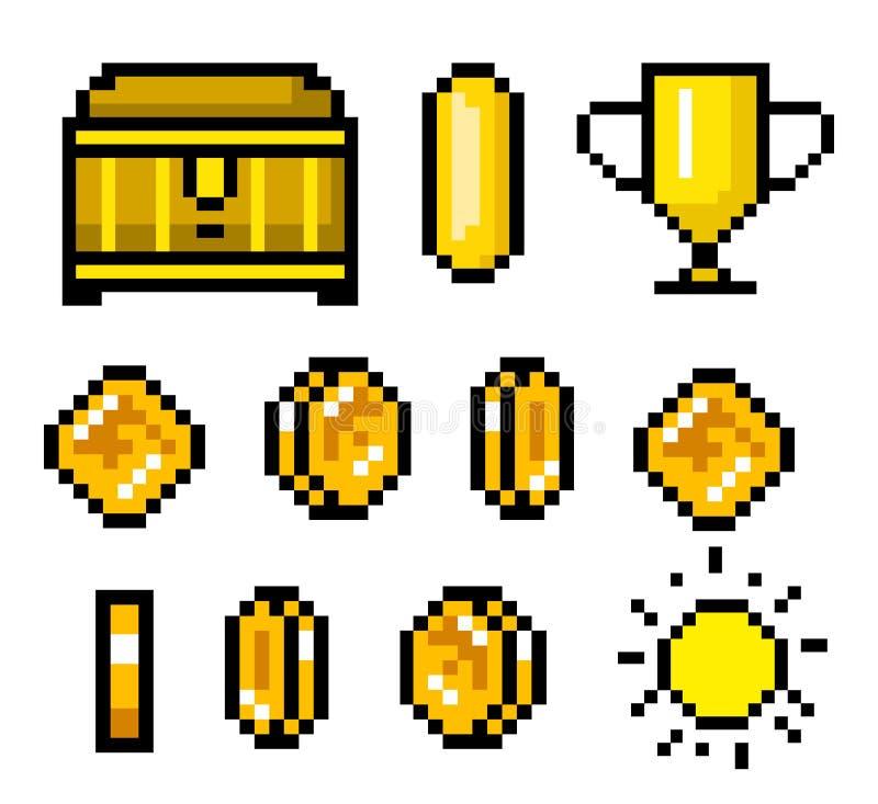 Piksel sztuki 8 kawałka przedmioty Retro gemowe wartości ustawić symbole rocznik komputerowe wideo arkady Monety i trofeum wektor ilustracji