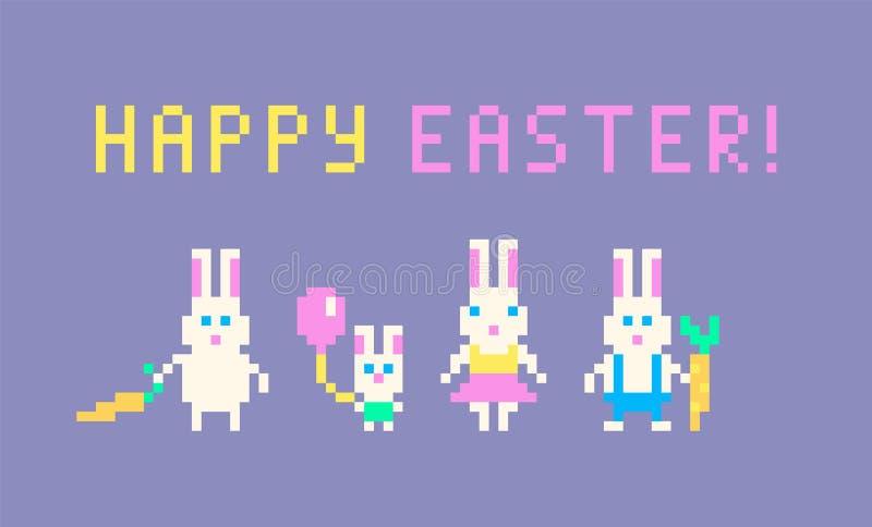 Piksel sztuki króliki rodzinni ilustracji