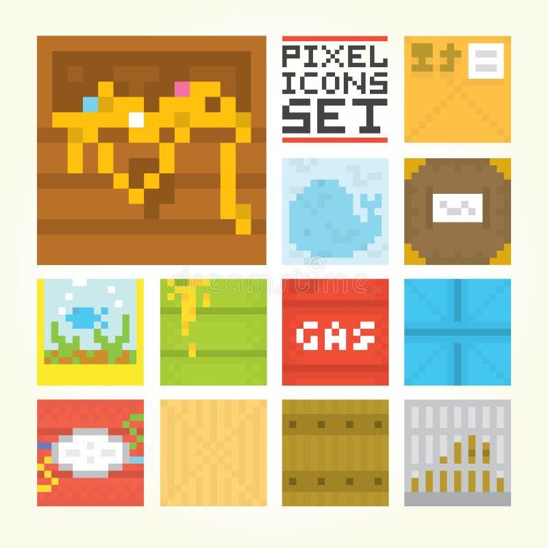 Piksel sztuki kwadrata ikon wektoru set ilustracji