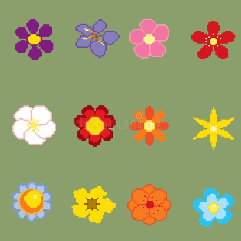 Piksel sztuki kwiaty ilustracja wektor