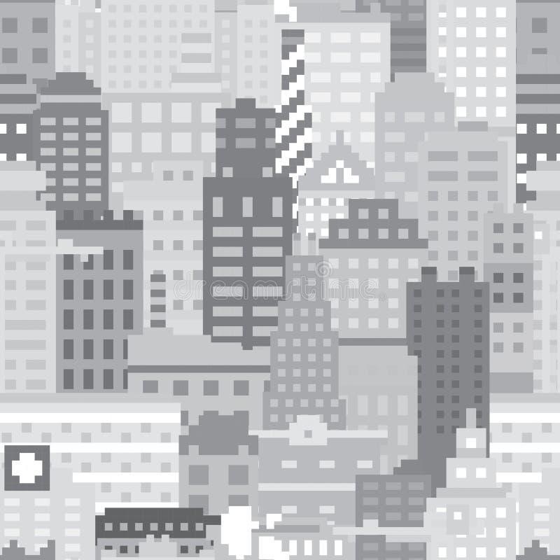 Piksel sztuki miasta wektoru bezszwowy wzór royalty ilustracja