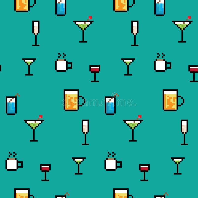 Piksel sztuki napoje royalty ilustracja