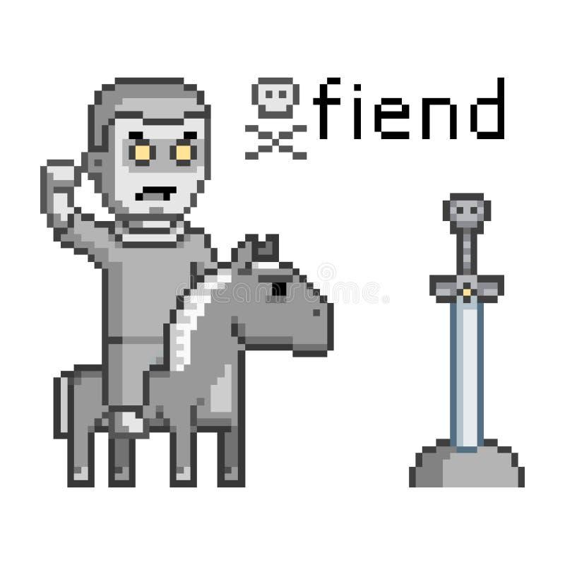 Piksel sztuki nieprzyjacielski wojownik na koniu ilustracji