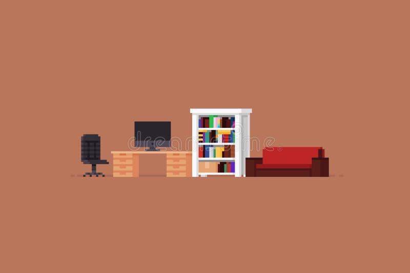 Piksel sztuki pokój royalty ilustracja