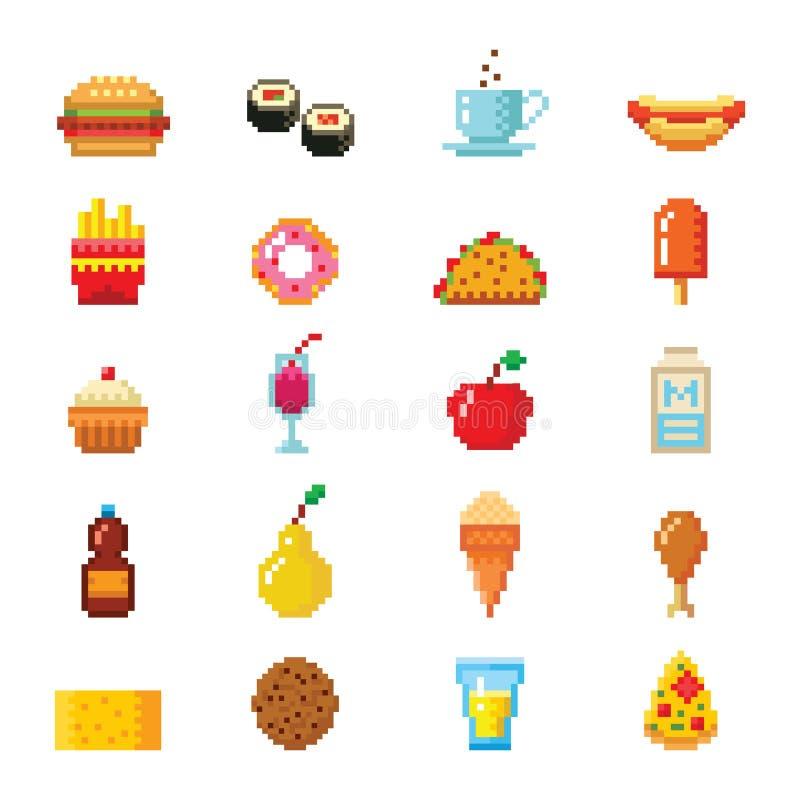 Piksel sztuki projekta karmowe komputerowe ikony wektorowe ilustracja wektor
