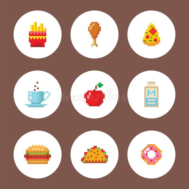 Piksel sztuki projekta karmowych komputerowych ikon wektorowa ilustracyjna restauracja pixelated elementu fasta food sieci retro  royalty ilustracja