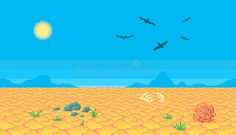 Piksel sztuki pustyni tło ilustracja wektor