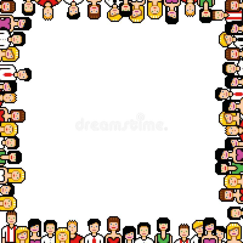 Piksel sztuki ramowej wektorowej ilustraci ludzie royalty ilustracja