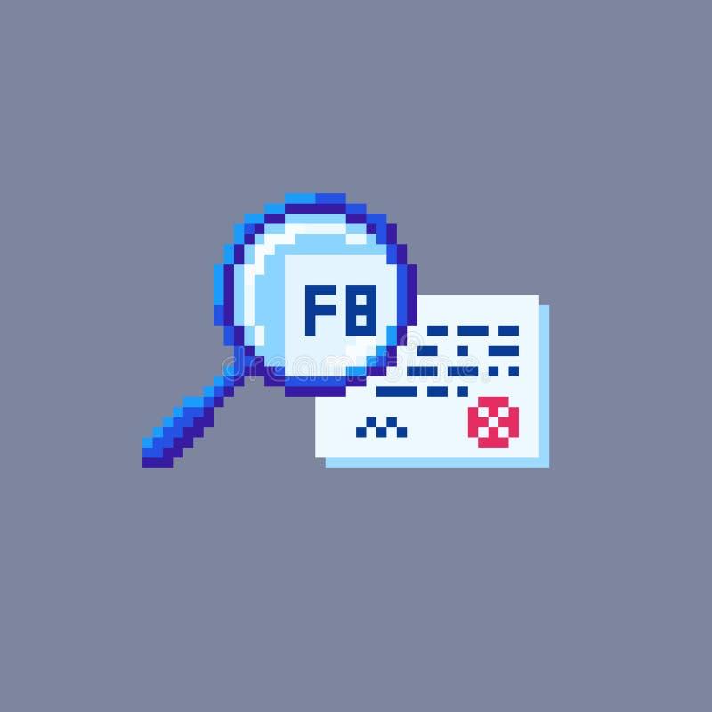 Piksel sztuki rewizji dokumentu magnifier ikona royalty ilustracja