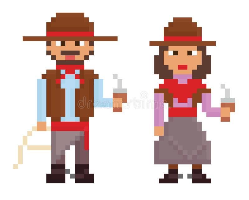 Piksel sztuki rocznika stylu ilustracj przedstawienia męscy ilustracji