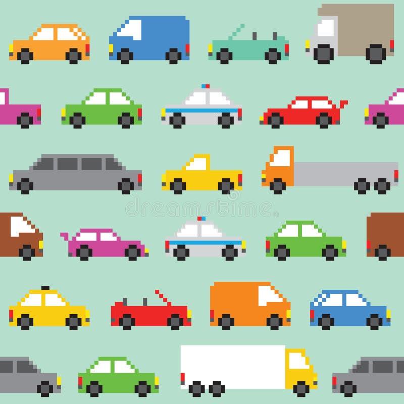 Piksel sztuki ruchu drogowego wektoru bezszwowy wzór ilustracji