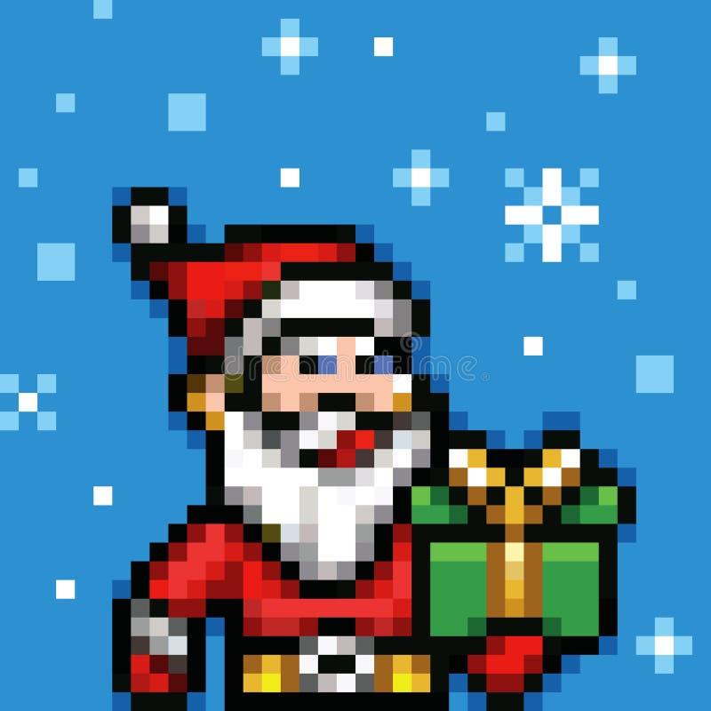Piksel sztuki Santa Claus xmas wektor royalty ilustracja
