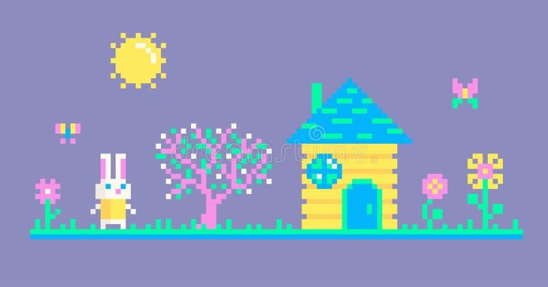 Piksel sztuki scena z królikiem ilustracja wektor