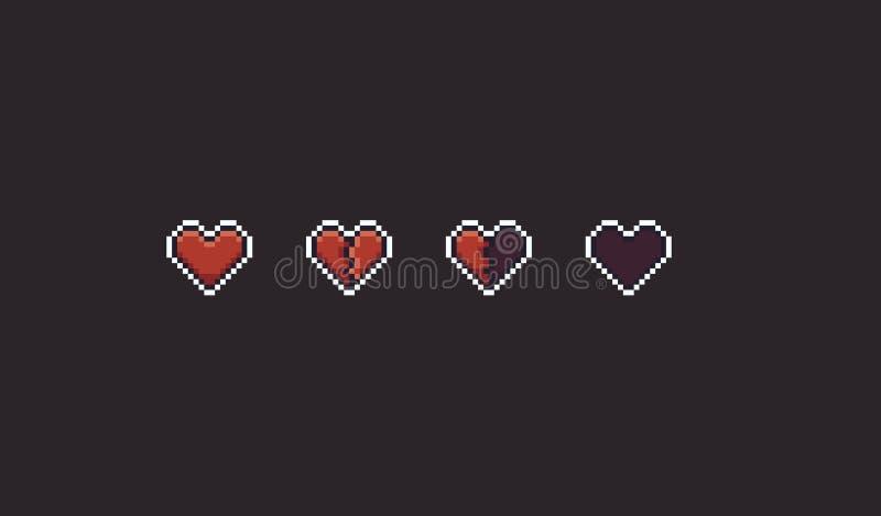 Piksel sztuki serca ilustracja wektor