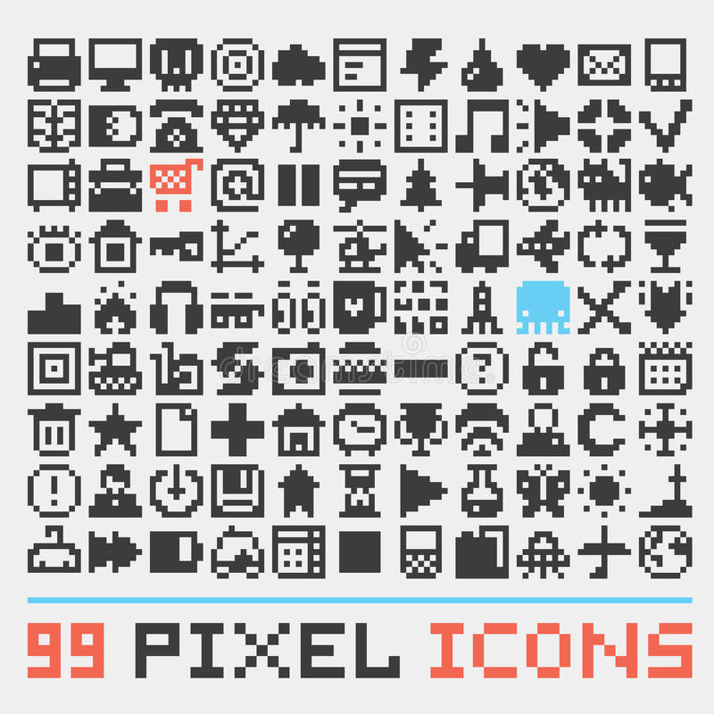 Piksel sztuki sieci ikon wektoru set ilustracja wektor