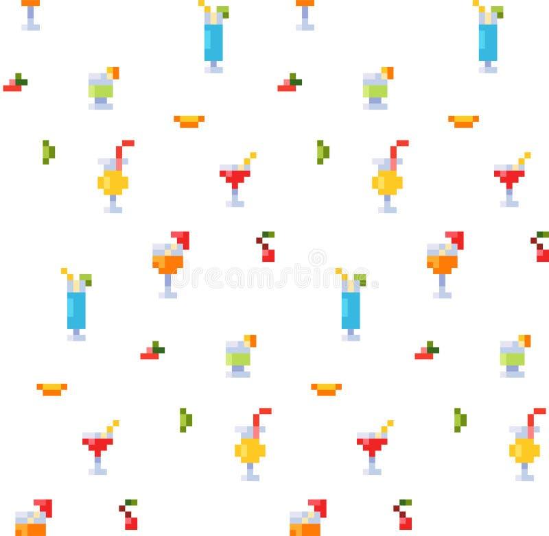Piksel sztuki stylu bezszwowy wzór lato napoje i plażowi koktajle lodowi i alkoholiczni Owoc i orzeźwienia Tło ilustracja wektor