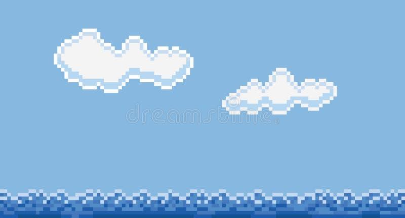 Piksel sztuki stylu chmury i woda morska ilustracji