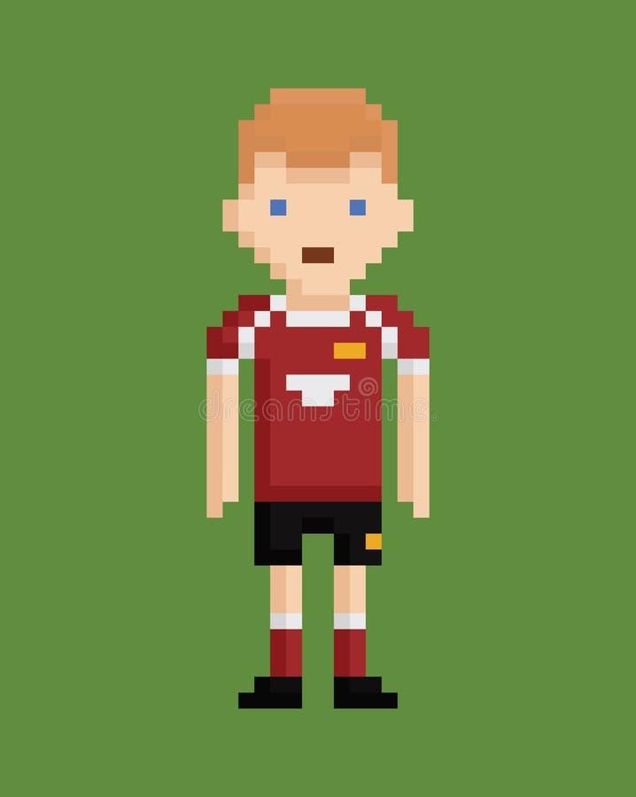 Piksel sztuki stylu ilustracja pokazuje gracza piłki nożnej ilustracji