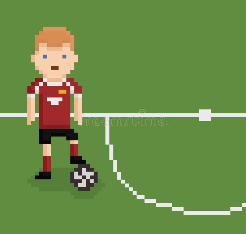 Piksel sztuki stylu ilustracyjna futbolowa piłka nożna ilustracji