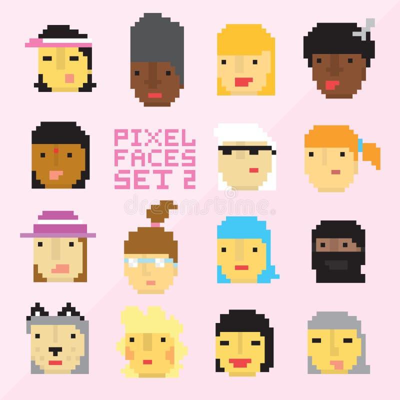 Piksel sztuki stylu 15 kreskówki twarzy wektor ustawia 2 royalty ilustracja