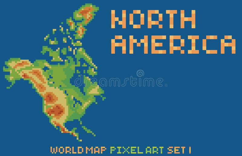 Piksel sztuki stylu mapa północny America, zawiera royalty ilustracja