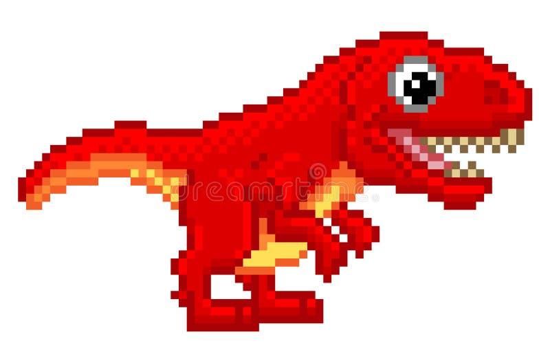 Piksel sztuki T Rex kreskówki dinosaur ilustracja wektor