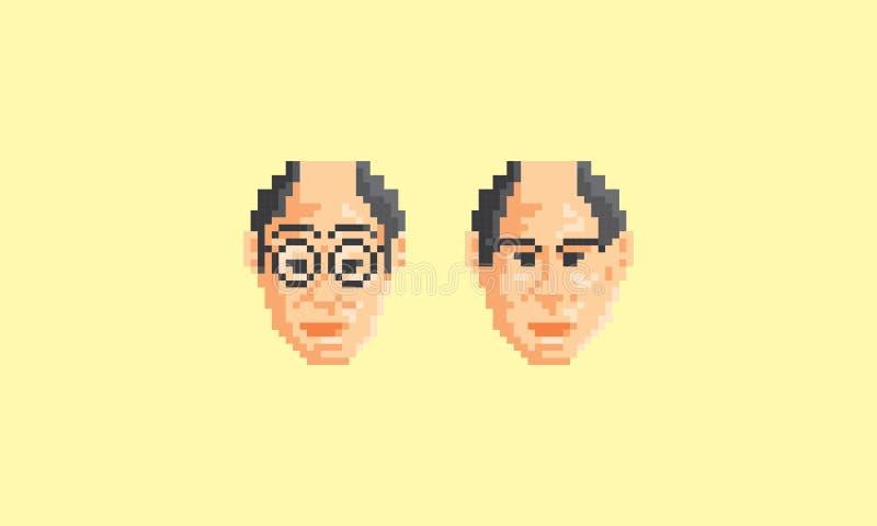 Piksel sztuki twarzy starego człowieka loga ikony wektor ilustracja wektor