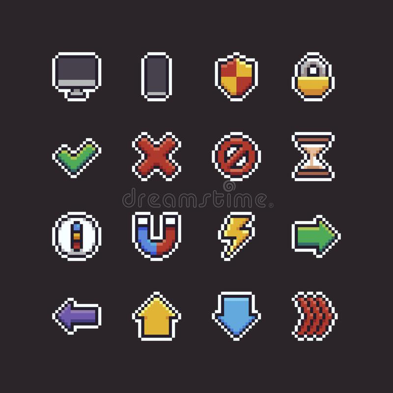 Piksel sztuki UI ikony ilustracji