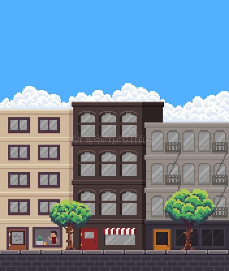 Piksel sztuki ulica ilustracja wektor