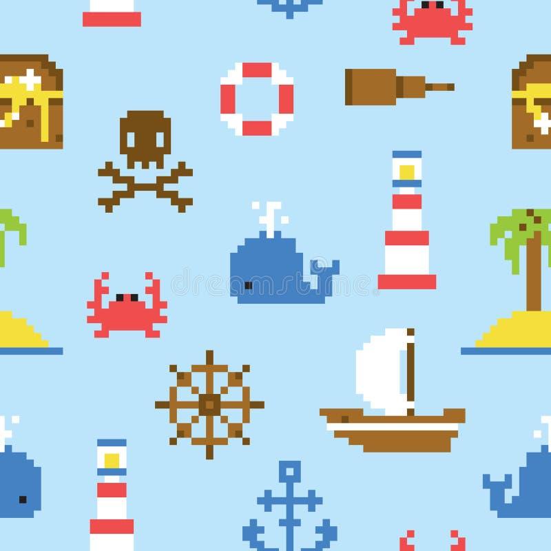 Piksel sztuki wektoru morski bezszwowy wzór ilustracji