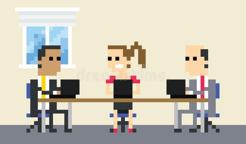 Piksel sztuki wizerunek biznes drużyny spotkanie W biurze ilustracja wektor